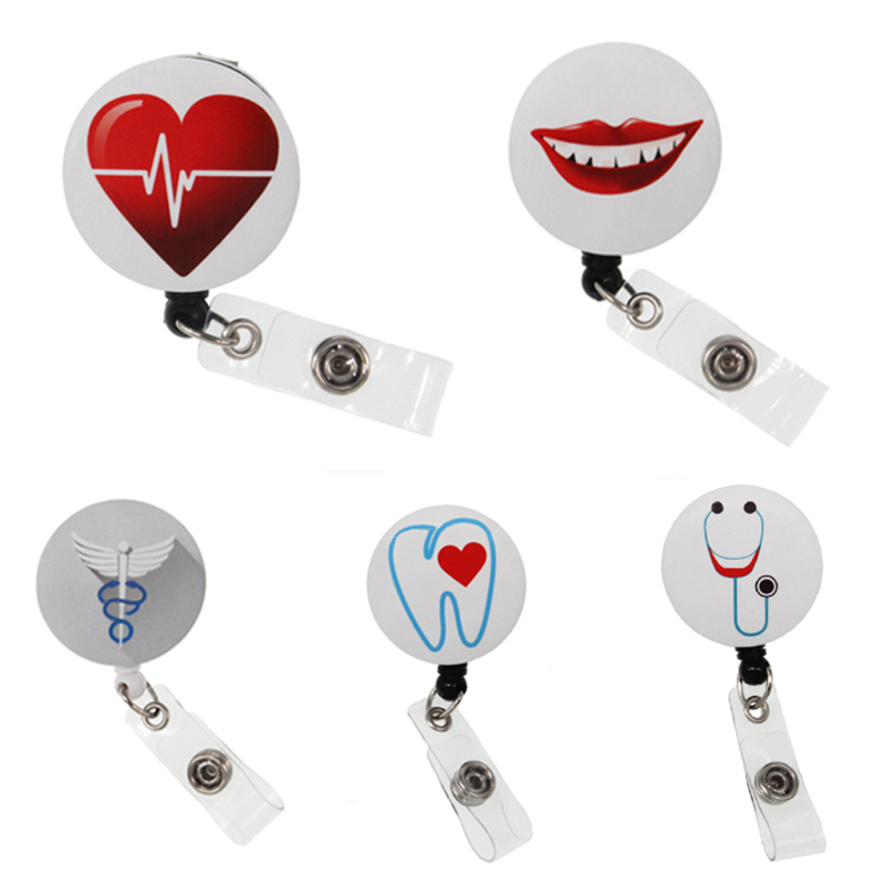 Amiable 50pcs/lot 5kinds Free Shipping Cheap Steel Medical Red Heart/stethoscope/angel Wing Retractable Id Badge Holder Reel Brooches