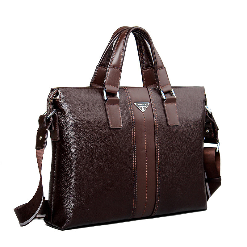 ФОТО Luxury Brand Handbags Genuine Leather Bags for Men Famous Briefcases Cowhide Shoulder Bags Men's Leather Laptop Bag Briefcase