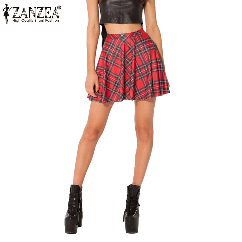 Popular Red Pleated Plaid Skirt Buy Cheap Red Pleated