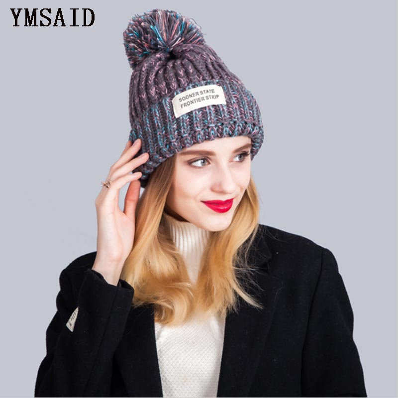 Women's Hats Apparel Accessories Cooperative Women Girls Pompom Beanie Caps Stripe Hats Autumn Winter Cotton Beanie Ski Caps Double Layer Ladies Skullies