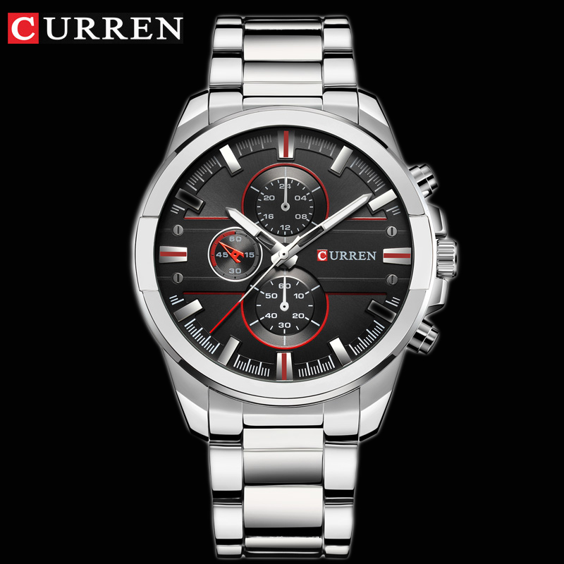 <font><b>CURREN</b></font> Classic Stainless Steel Strap Watches Men Military Analog Quartz Wristwatch For Mens Clock Casual Male Watch erkek saati image