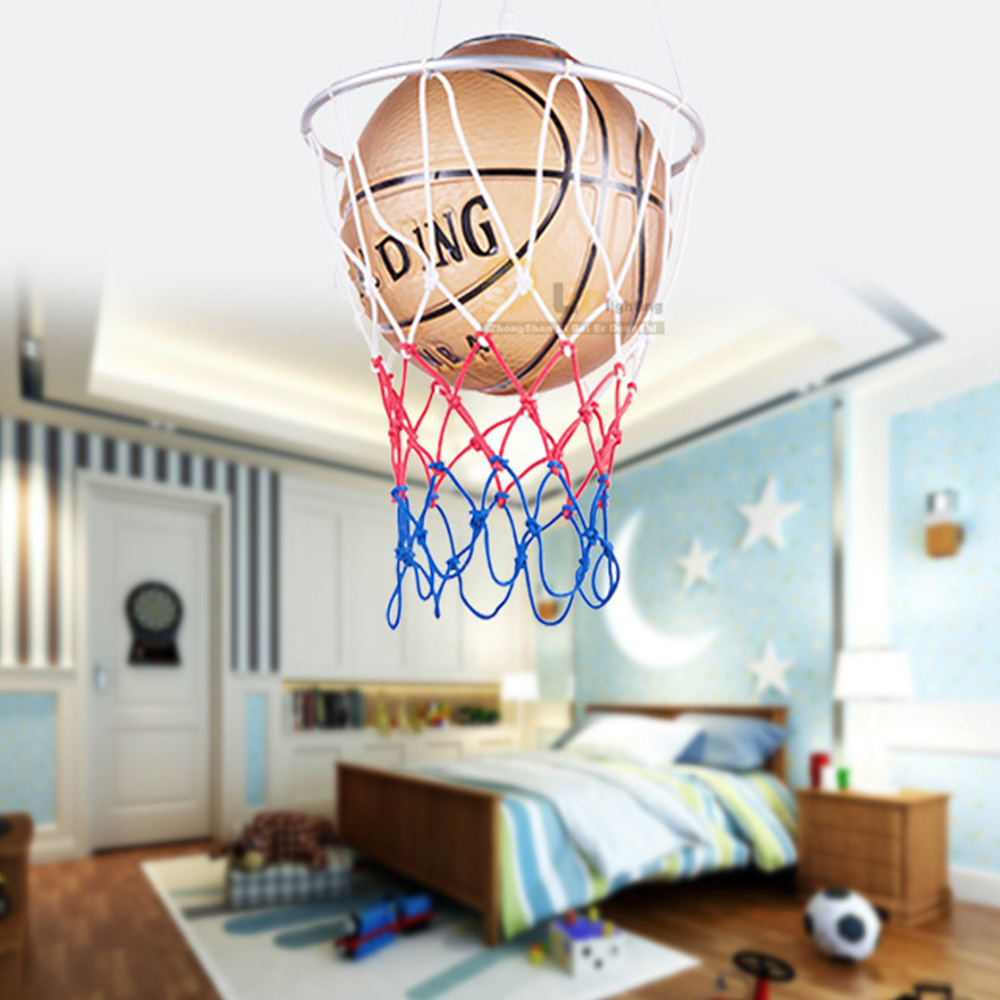 High Quality Kids Room Basketball Led Pendant Lamp Restaurant Lighting  E27 Bulb Lamp Cartoon Glass Light Pendant Led Fixtures kids led pendant lights basketball football glass e27 led bulb cartoon children s room bedroom lamps lighting ems free shipping