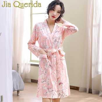 100% Cotton Robe Set 2019 New Female Floral Robe&Gown Sets Sexy V-neck Lace Trim Gown+Kimono Sleepwear Bathrobe Elegant Homewear