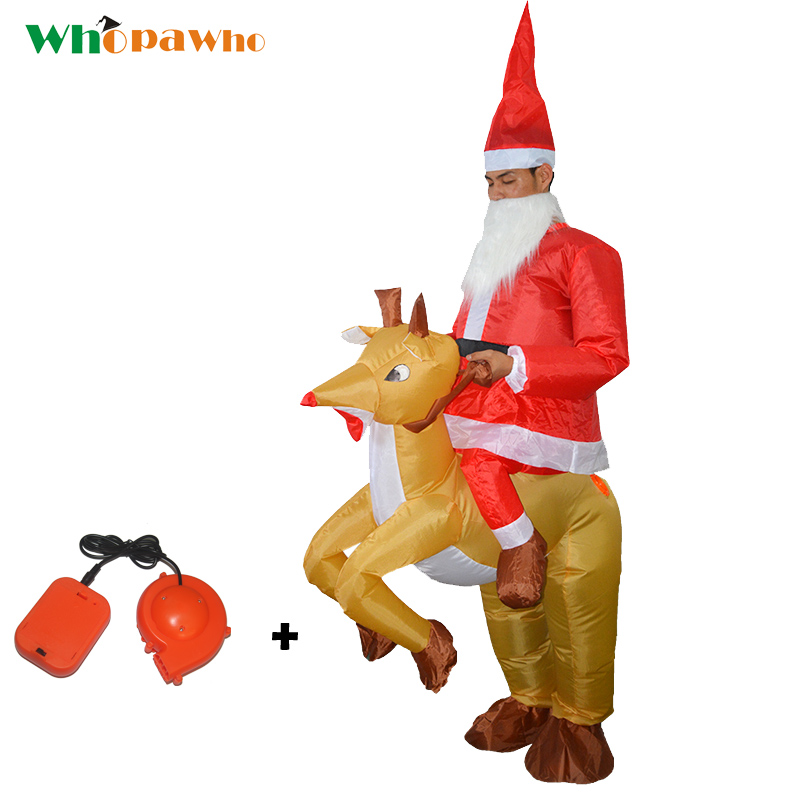 Adult Inflatable Christmas Costume Ride on Deer Santa Claus Costume Xmas Decor Jumpsuit Mounts Clothes New Year Gifts