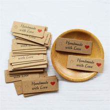 100pcs/lot Handmade with love Word Kraft Paper Tags for Party Gift New Year Wedding Baking Hang Garment