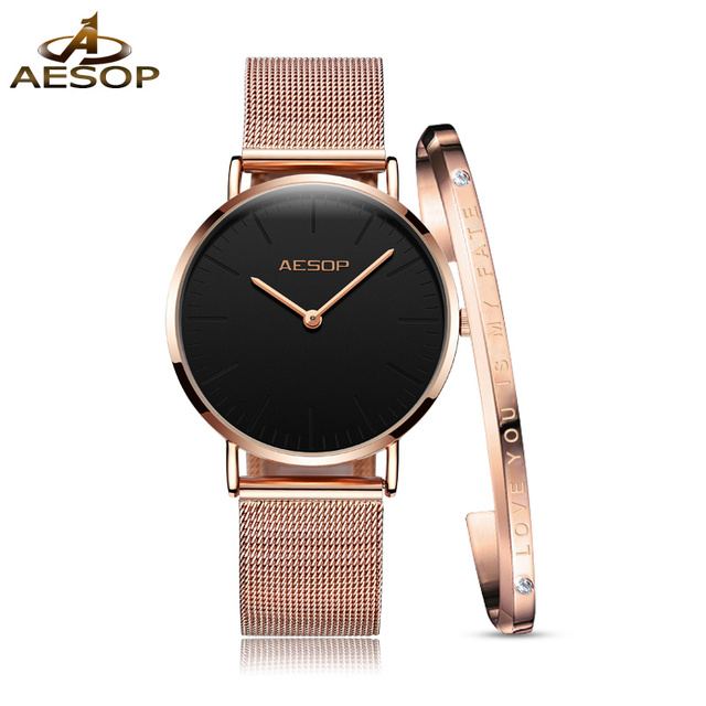 AESOP Fashion Women watches female waterproof clock Milan steel Rose gold watch