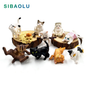 1pc Playing Cat Figurine Miniature Lifelike Kitten Animal Decoration mini fairy garden Cartoon statue craft Home Car Decorative
