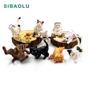 1pc Playing Cat Figurine Miniature Lifelike Kitten Animal Decoration mini fairy garden Cartoon statue craft Home Car Decorative
