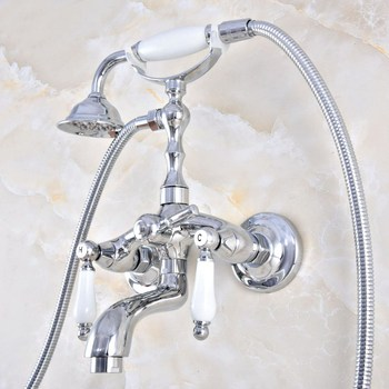 Polished Chrome Brass Double Ceramic Handles Wall Mounted Claw Foot Bathroom Tub Faucet Mixer Tap With Handshower mtf852