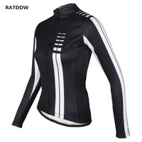 Women Winter therma Bike Cycling Jersey Thermal Cycling Clothing Ciclismo Maillot Bike Bicycle Jacket Black