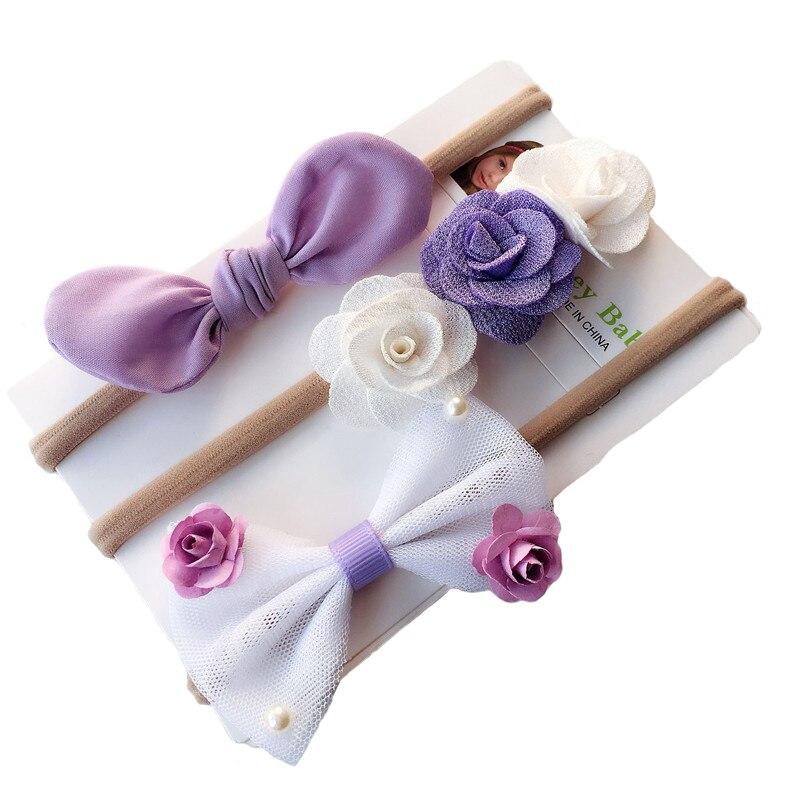 3 Pcs Children Spandex Nylon Rabbit Ear Headband Flower Bow Hair Bands DIY Handmade   Headwear   Headband Kids Hair Accessories