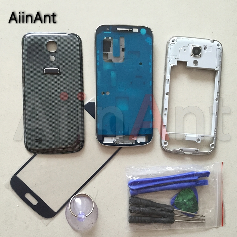 AiinAnt Case For Samsung Galaxy S4 mini i9190 i9192 i9195 Full Housing Middle Front Bezel Frame Battery Cover Touch Glass