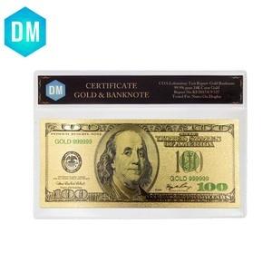 Monnaie normale américaine 24k 999.9 | Feuille d'or 100 Dollar, monnaie du monde, objets d'art avec cadre COA Collection de valeur