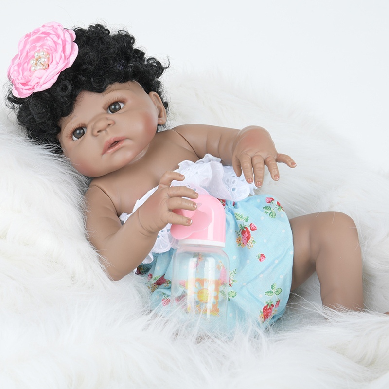 55CM lovely bebe princess reborn dolls for children gift Black curly hair fashion silicone dolls toys Christmas Gift