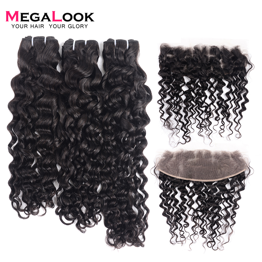 300g Brazilian Water Wave Double Drawn Human Hair Bundles With Frontal Can Make Into Wig 100% Remy Human Hair Weave With Frontal