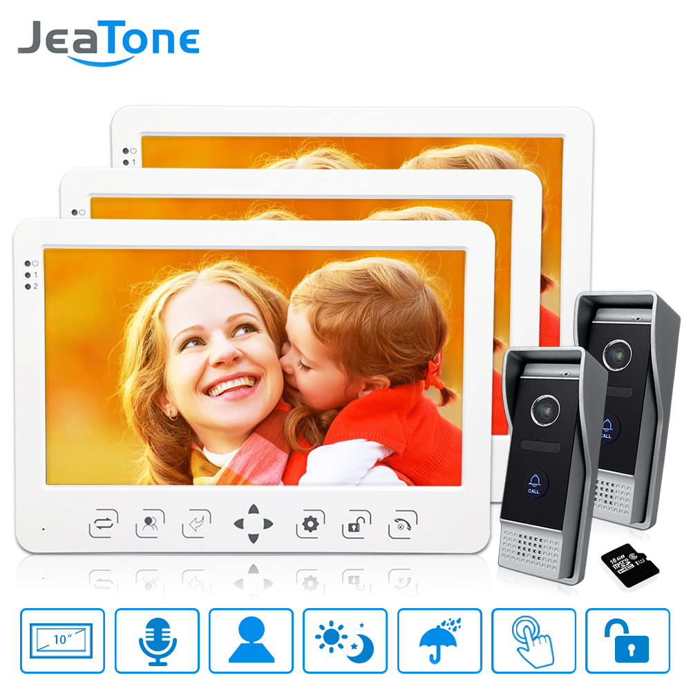 10''Video Door Phone Doorbell Intercom System 3*Touch Key Monitor+2* 1200TVL Call Button+16G Card Motion Detection/Voice Message