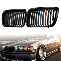 for BMW E36 1997 1998 1999 Pair Car Front Bumper Hood Matte/Gloss Black M Style/Chrome Kidney Grille Grill