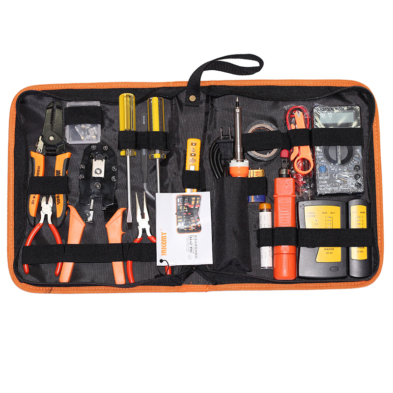 JM P15 network repair tool set kit+ electric pen measuring cable tester+ iron crimping pliers toolbox repairing tools|tool set kit|tool setrepair tool set - title=