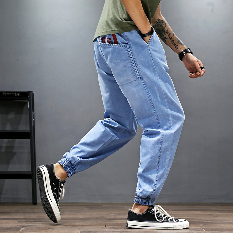 Fashion Streetwear Men Jeans Blue Loose Fit Denim Cargo Pants Hip Hop Jeans Printed Designer Japanese Style Joggers Jeans Men