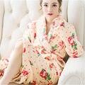 2017 Nuevo Diseñador Kimono Albornoz de Franela Mujeres Sexy Casual Invierno Caliente Larga Dama de Honor Batas Floral Albornoz Bata