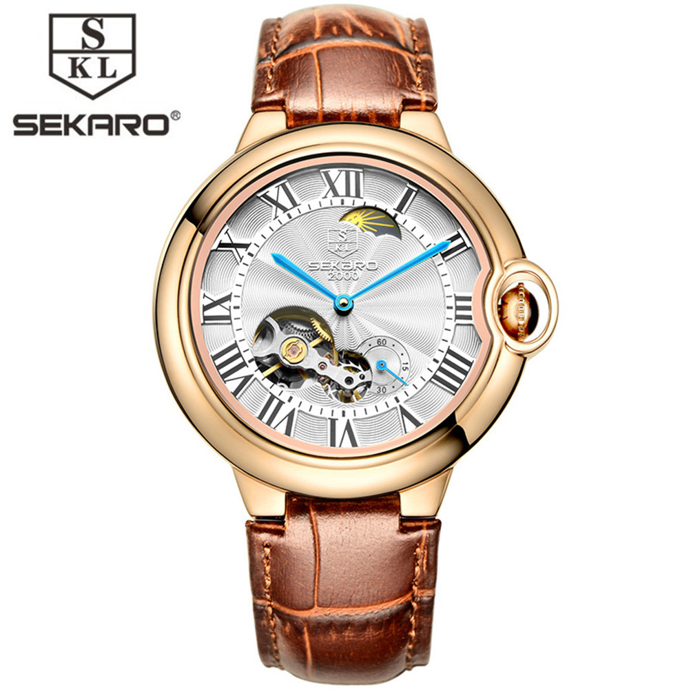 SEKARO Men Automatic Mechanical  Watches Moon phase display Tourbillon Top Brand Luxury Leather strap Mens Sport Wrist relogio 2017 men watches luxury top brand sekaro sport mechanical watch gold clock men tourbillon automatic wristwatch with moon phase