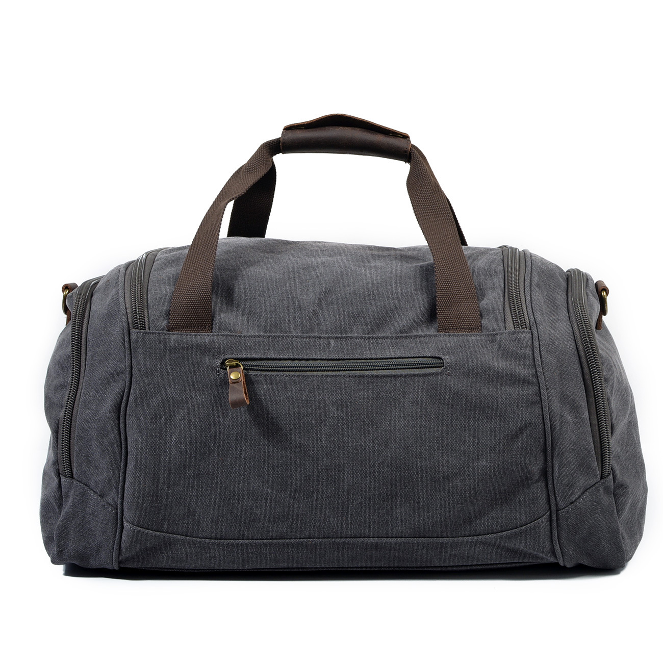 Waterproof Duffel Bag Men Canvas Carry Weekender Bag Vintage Military Shoulder Handbag Leather Travel Tote Large Overnight Bag