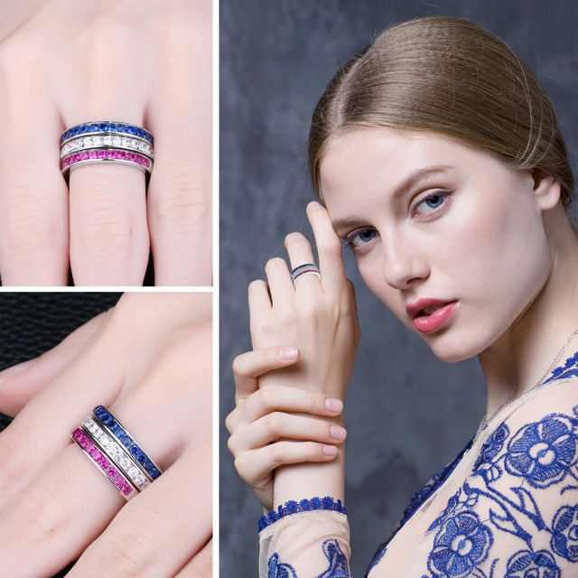eb4d0a7b0e JewelryPalace three stack 1.8ct Round Created Ruby Sapphire Wedding  Cocktail Band Eternity Ring 925 Sterling Silver ...