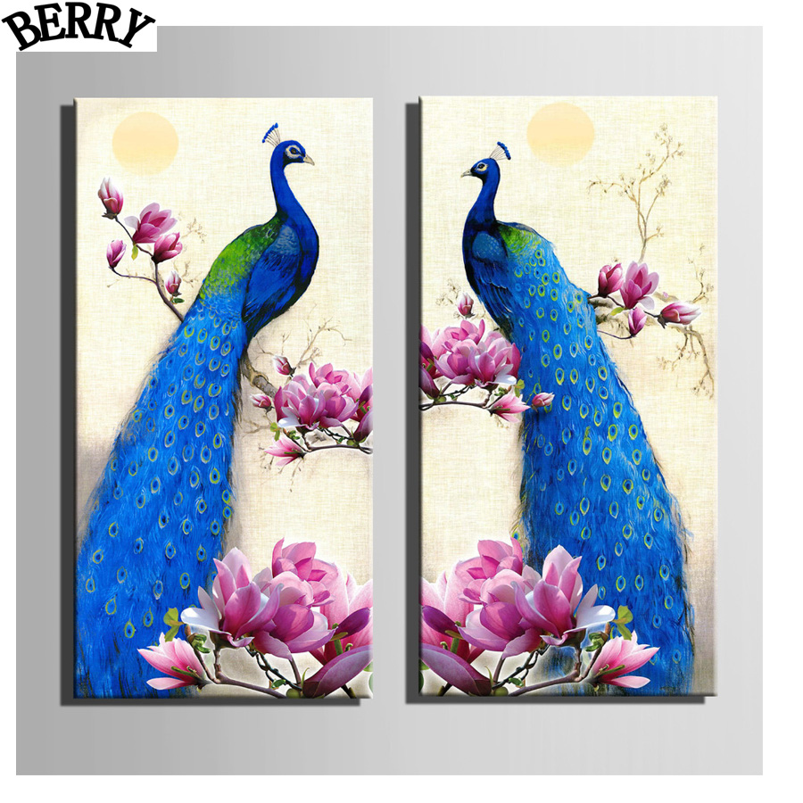 2pcs/set 5D diamond embroideryOrchid Peacocksquare canvas painting,Diy 5d diamond Painting cross stitch diamond mosaic
