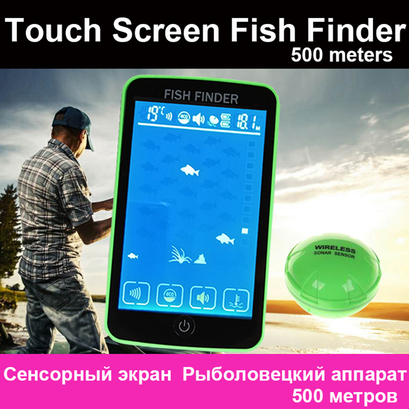 Free Shipping! Touch Screen 500 Meters Wireless Fish Finder Sonar Sensor Transducer Depth Echo Sounder Recharged Battery|Fish Finders| |  - title=