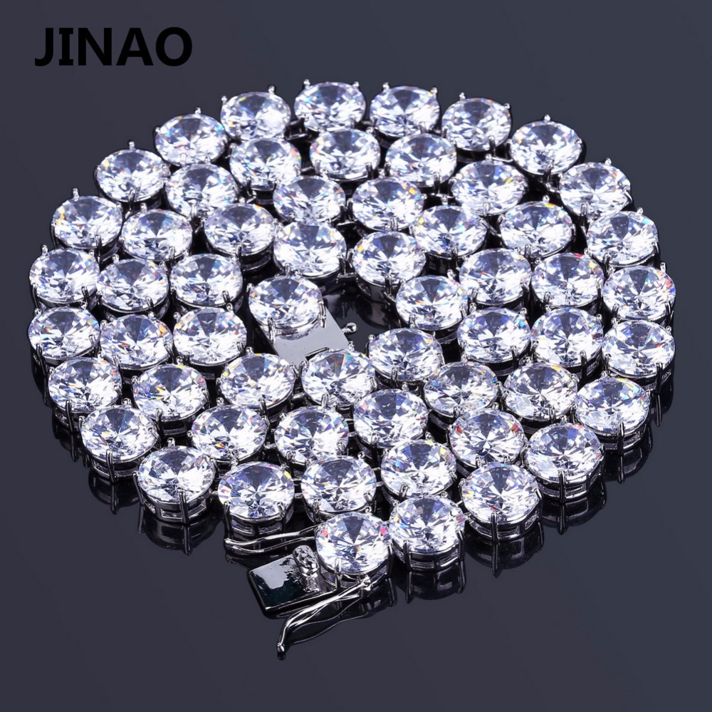 JINAO Hip Hop Male 10mm Tennis Chain Necklace Jewelry Necklace Copper Gold/Silver Color Plated Micro Pave CZ Stone  20 24 30JINAO Hip Hop Male 10mm Tennis Chain Necklace Jewelry Necklace Copper Gold/Silver Color Plated Micro Pave CZ Stone  20 24 30