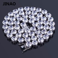 JINAO Hip Hop Male Jewelry Necklace Copper Gold Silver Color Plated Micro Pave CZ Stone 10mm