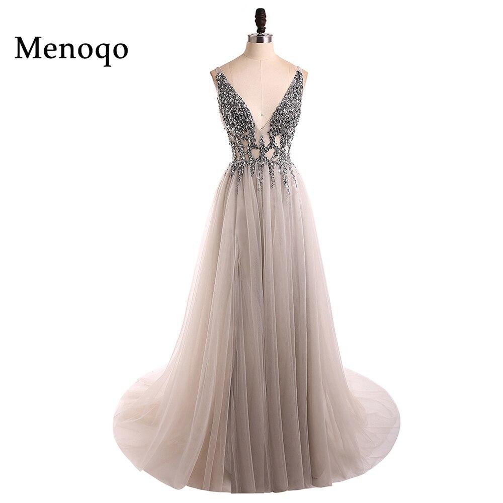 V образным вырезом сверкающие платья для выпускного вечера 2018 спинки Вечеринка платье элегантные пикантные See Through Высокая разделение Vestido de...