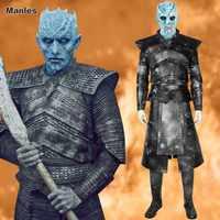 Game Of Thrones 8 Nacht König Kostüm Weiß Wanderer Cosplay Erwachsene EIN Lied Von Eis Und Feuer Halloween Full Set helm Stiefel