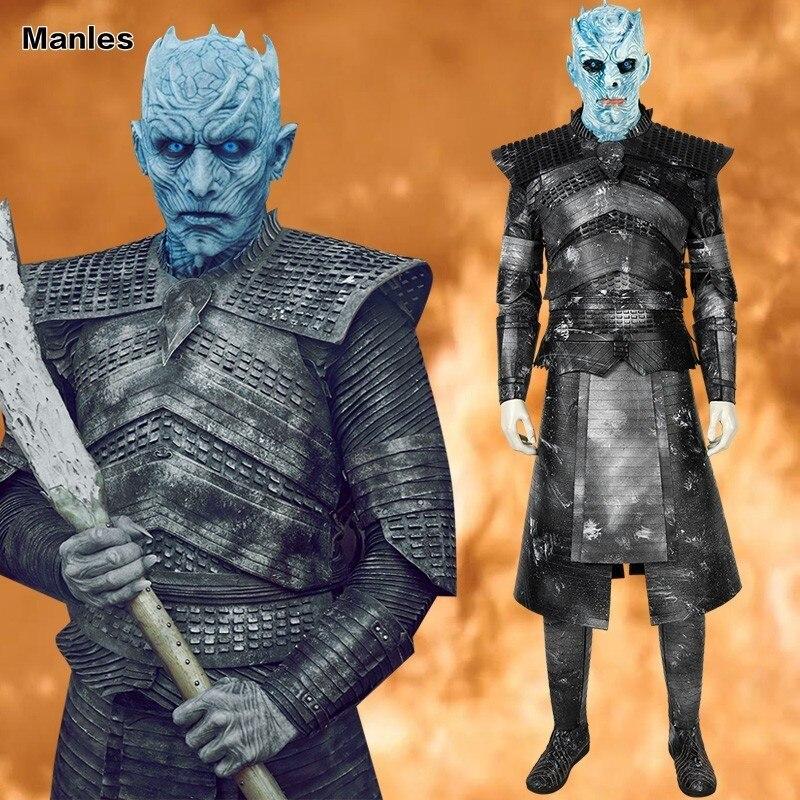 Game Of Thrones 8 nuit roi Costume blanc marcheurs Cosplay adulte une chanson de glace et de feu Halloween ensemble complet casque bottes