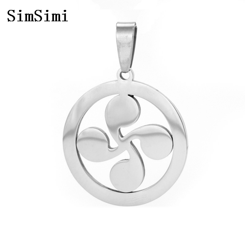 Four Heads Lauburu Basque Cross Symbol of Star Sun Keltic Pendant Stainless Steel Necklace Jewelry Making