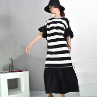 EAM 2018 Summer New Fashion Hit Color Stripe Short Sleeve Ruffles Side Round Collar Loose