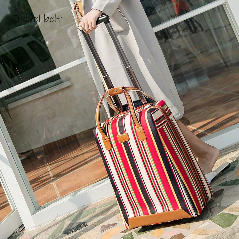 Image 3 - Travel Belt 20 inch oxford Rolling Luggage set Spinner Women Brand Suitcase Wheels stripe Carry On Travel Bags-in Rolling Luggage from Luggage & Bags
