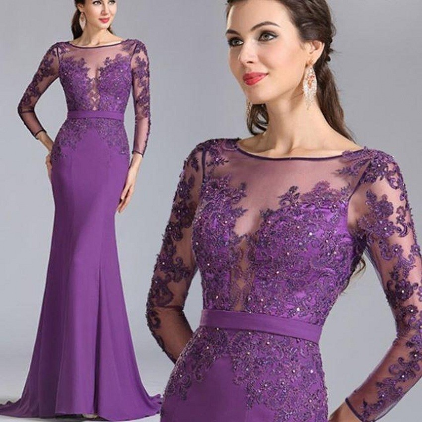 Online Get Cheap Purple Lace Mermaid Evening Dress -Aliexpress.com ...