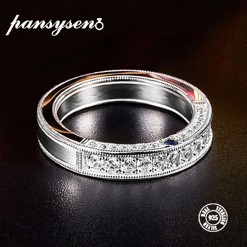 PANSYSEN Authentic 925 Sterling Silver Classic Round Circle Wedding Engagement Finger Ring For Women Men New Luxury Bridal Rings