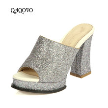 Women Summer High Heels Platform Sandals Square Heel Slippers Fashion Sequined Open Toe Party Ladies Shoes Big Size 34-43