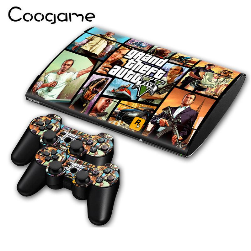 Fresh Grand Theft Auto V Skins Sticker For PalyStation 3 Slim 4000 Console GTA 5 Stickers & 2 Pads Decals