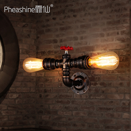 loft retro industrial pipe wall lamp iron Restaurant Bar hotel bar цена