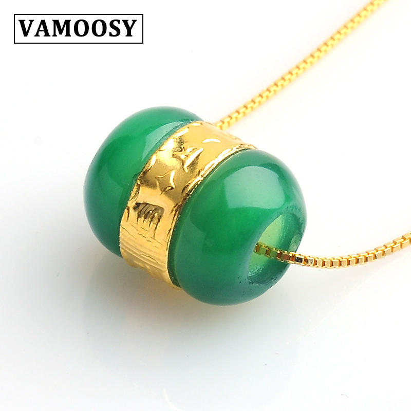 VAMOOSY 2018 Wholesale Natural stone Green White Stone with 24K Gold color Lucky Pendants luxury Vintage Jewelry for women men