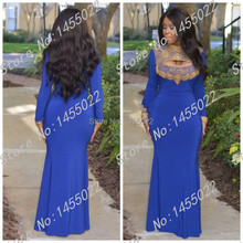 2016 High Neck Mermaid Royal BLue Prom Dresses Arabic Evening Dress Long Sleee Gold Beaded Crystal Moroccan Kaftan Islamic Abaya