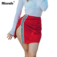 Missufe Side Striped Button Split Bandage Mini Skirt Irregular Sexy Short Women Skirt 2017 Faldas Mujer