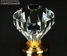 Fashion luxury diamond furniture decoration knob k9 crystal drawer cabinet handle knobs gold silver brass base dresser cupboard