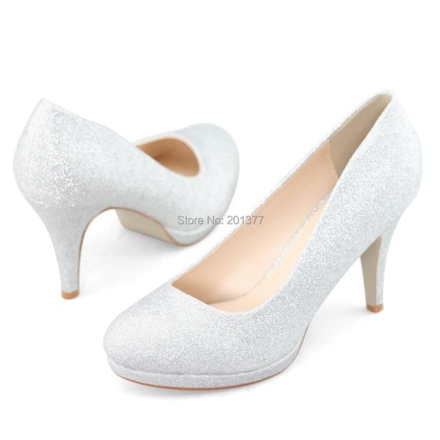 e3501576ef3 SHOEZY brand wedding shoes gold silver glitter high heels women pumps shoes  woman closed toe bride bridesmaid shoe for ladies