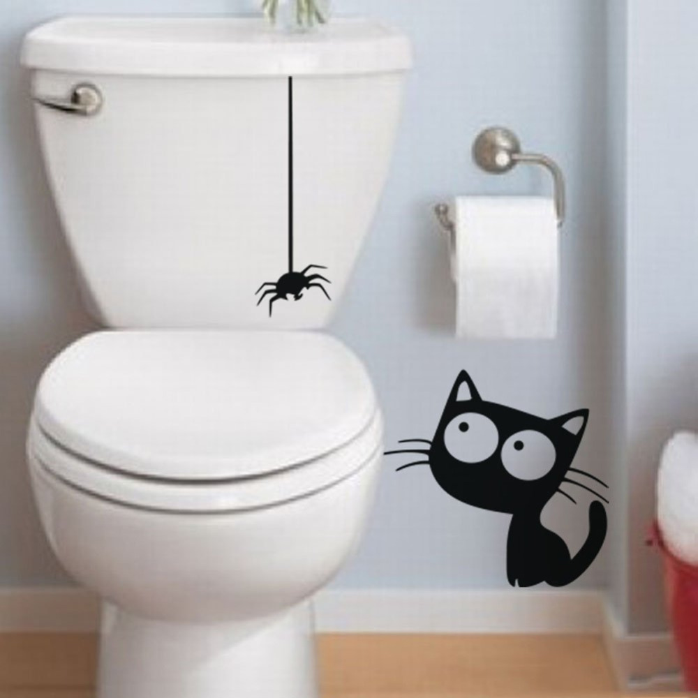 Funny Toilet Decal Black Hanging Spider And Cat Bathroom