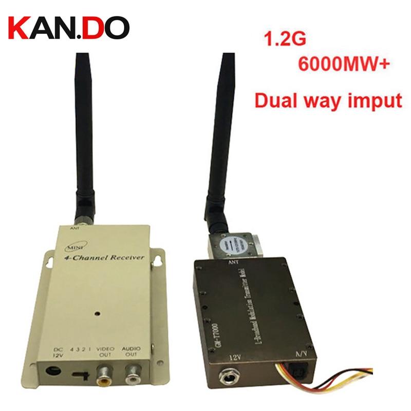 6W+ dual way video input 1.2G transceiver,1.2G CCTV camera drone transmitter Video Audio Transmitter Receiver fpv transmitter