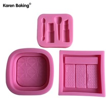 One Set / 3PCS Makeup Tools And Loose Powder And Eye Shadow And Design Fondant Cake Molds Tools Soap Chocolate Mould --C457(China)